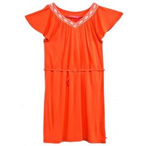 Le Big jersey jurk met geborduurde hals in de kleur oranje