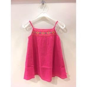 Le Big a-lijn jurk met borduursels in de kleur roze