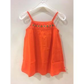 Le Big a-lijn jurk met borduursels in de kleur oranje