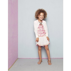 Le Big rok met kwastjes en borduursels in de kleur off white