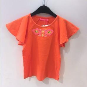 Le Big top met vlinder mouw in de kleur oranje