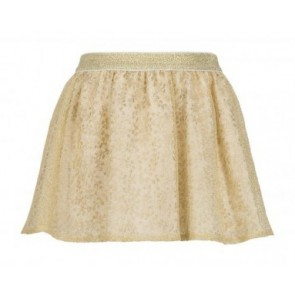 Le Big rok met all over blaadjes print in de kleur goud