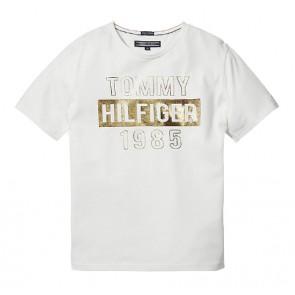 Tommy Hilfiger t-shirt met goude tekst in de kleur wit