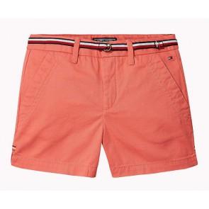 Tommy Hilfiger korte broek chino short met riempje in de kleur koraal oranje