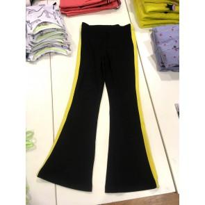 D-xel flared broek met flair pijp en gele bies in de kleur zwart