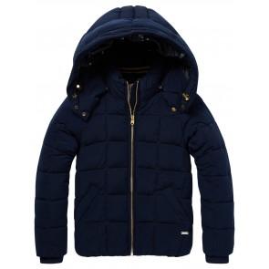 Scotch R'belle soepele winterjas met afneembare capuchon in de kleur donkerblauw