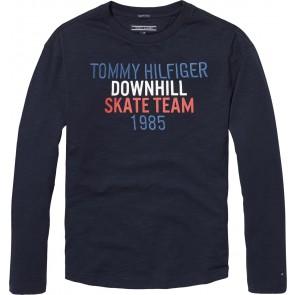 Tommy Hilfiger longsleeve t-shirt met tekst in de kleur donkerblauw