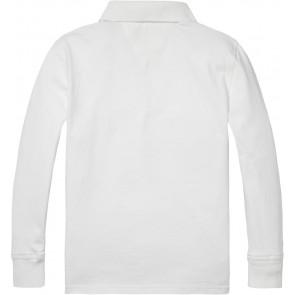 Tommy Hilfiger longsleeve polo-shirt met logo in de kleur wit