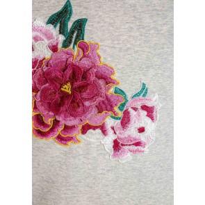 Guess kids one shoulder sweater met geborduurde roze bloem in de kleur grijs