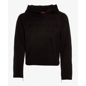 Guess kids sweater met capuchon en roze details in de kleur zwart