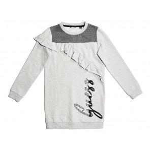 Guess kids sweater jurk met roezels en glitter logo in de kleur grijs