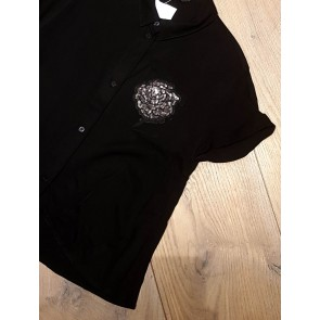 Guess blouse met pailletten roos in de kleur zwart