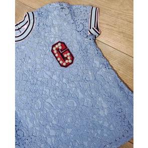Guess kanten t-shirt top met parels in de kleur blauw
