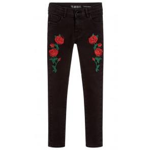 Guess super skinny jeans met geborduurde rozen in de kleur zwart