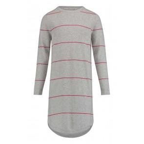 Penn & Ink fijngebreide jurk met rode strepen in de kleur grijs