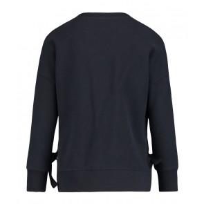 Penn & Ink zachte sweater trui met strikken aan de zijkant in de kleur donkerblauw