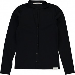 Penn & Ink stretch blouse van travel quality in de kleur zwart