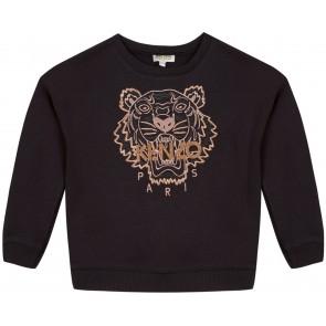 Kenzo kids girls sweater trui tijgerkop met glitter in de kleur zwart