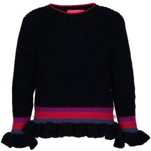 Le Big trui met trompet mouw en gekleurde band in de kleur donkergrijs