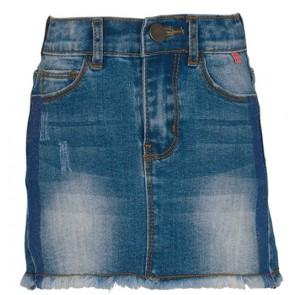 Le Big denim rok met blauwe glitter bies in de kleur jeansblauw