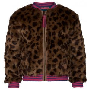 Le Big jas met panterprint en gekleurde band in de kleur bruin