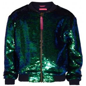 Le Big verander jas met pailletten in de kleur groen/blauw/zwart