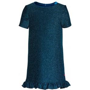 Le Big glitter jurk met roesels aan onderkant in de kleur blauw