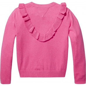Tommy Hilfiger fijngebreide trui met roesels in de kleur roze