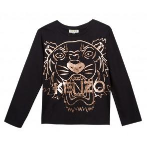Kenzo longsleeve shirt met tijgerkop in de kleur zwart