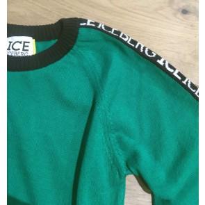 Iceberg kids boys fijngebreide trui met logoprint op de mouw in de kleur groen