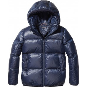 Tommy Hilfiger kids padded flag jacket winterjas in de kleur donkerblauw
