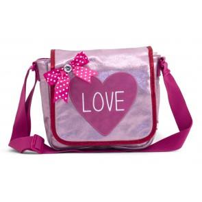 Zebra tas met hartje 'LOVE' in de kleur metallic roze