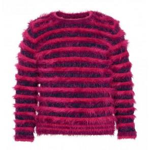 Le Big harige trui met strepen in de kleur roze/donkerblauw