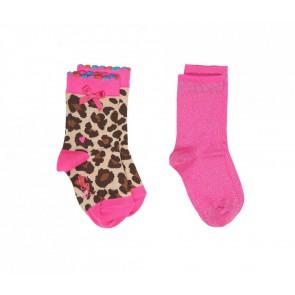 Le Big sokken in de kleur roze/glitter en panter print