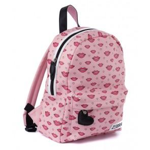 Zebra tas rugzak met lippenprint in de kleur roze