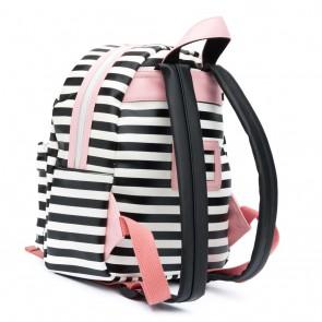 Zebra tas rugzak met strepen en hartjesprint in de kleur zwart/wit