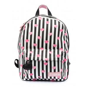 Zebra tas rugzak met strepen en hartjes in de kleur zwart/wit