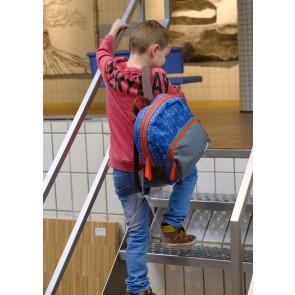 Zebra tas rugzak met tipi tenten print in de kleuren blauw/grijs/rood