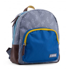Zebra tas rugzak met origami boten print in de kleur grijs/blauw/geel
