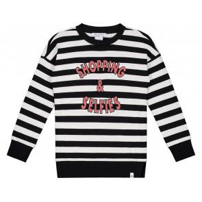NIK en NIK x Beautynezz gestreepte sweater trui 'Shopping' in de kleur zwart/wit