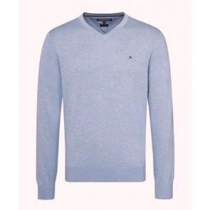 Tommy Hilfiger fijngebreide trui in de kleur lavendel blauw