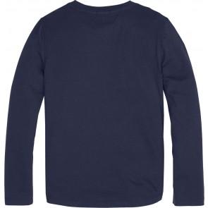 Tommy Hilfiger kids boys longsleeve shirt logo print in de kleur donkerblauw