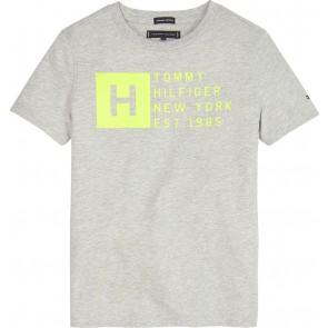 Tommy Hilfiger kids boys shirt logo print in de kleur grijs