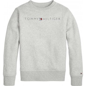 Tommy Hilfiger kids sweater trui met logo print in de kleur grey heather grijs