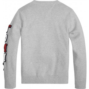 Tommy Hilfiger kids boys sleave sweater trui in de kleur grey heather grijs