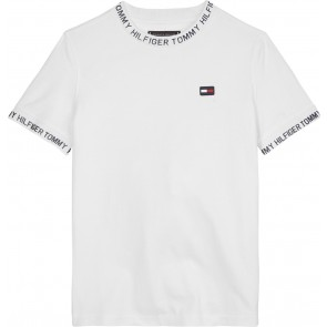 Tommy Hilfiger kids boys shirt met letterprint in de kleur bright white wit