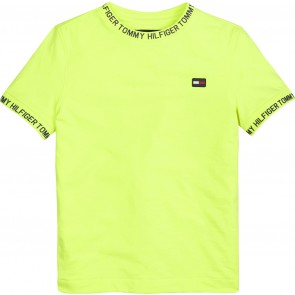 Tommy Hilfiger kids boys shirt met letterprint in de kleur safety yellow fluor geel