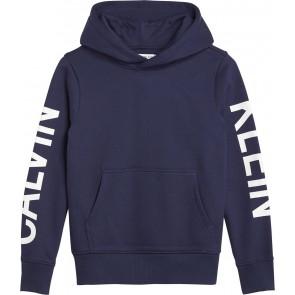Calvin Klein kids boys logo sleeves brushed hoodie in de kleur donkerblauw