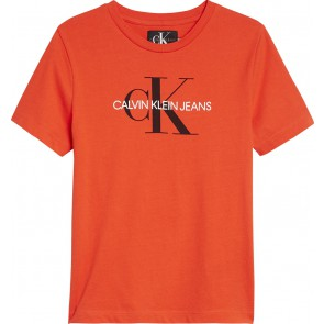 Calvin Klein kids girls shirt monogram logo regular tee in de kleur orange oranje