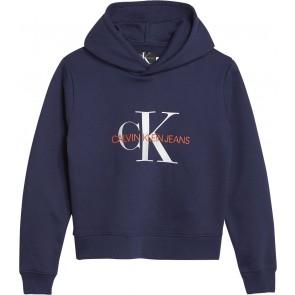 Calvin Klein kids girls monogram brushed boxy hoodie in de kleur donkerblauw